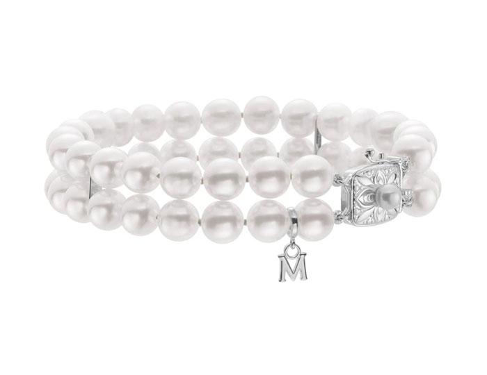 Mikimoto akoya pearl double stranded bracelet in 18k white gold.