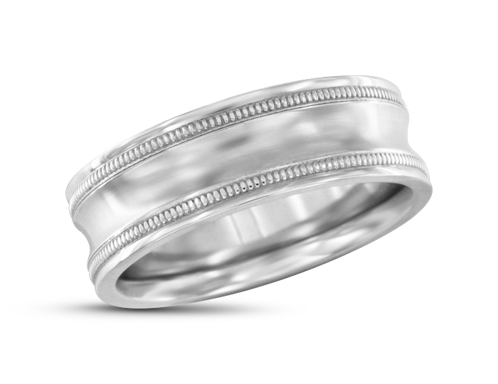 Men's wedding band in 18k white gold.