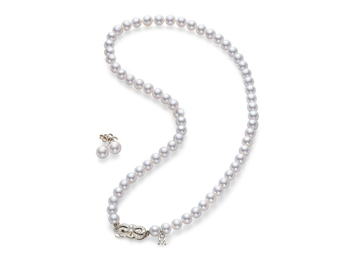 Mikimoto 7x6mm akoya pearl earring and necklace set in 18k white gold.