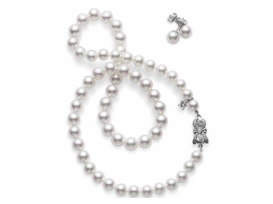 Mikimoto 8x7mm akoya pearl necklace and earring set in 18k white gold.