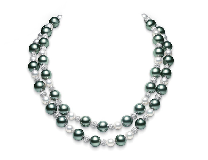 Mikimoto black South Sea pearl, akoya pearl and round brilliant cut diamond necklace in 18k white gold.