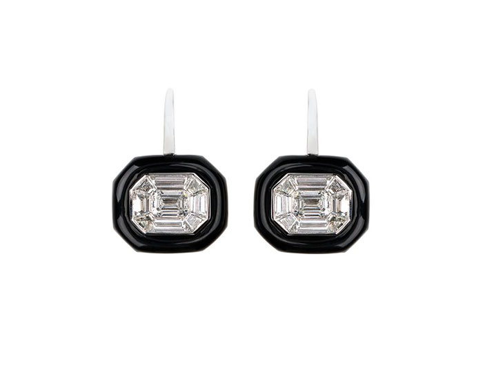 Nikos Koulis Oui collection emerald cut diamond black enamel earrings in 18k white gold.