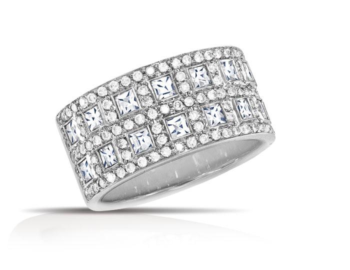 Blaze cut and round brilliant cut diamond band in 18k white gold.