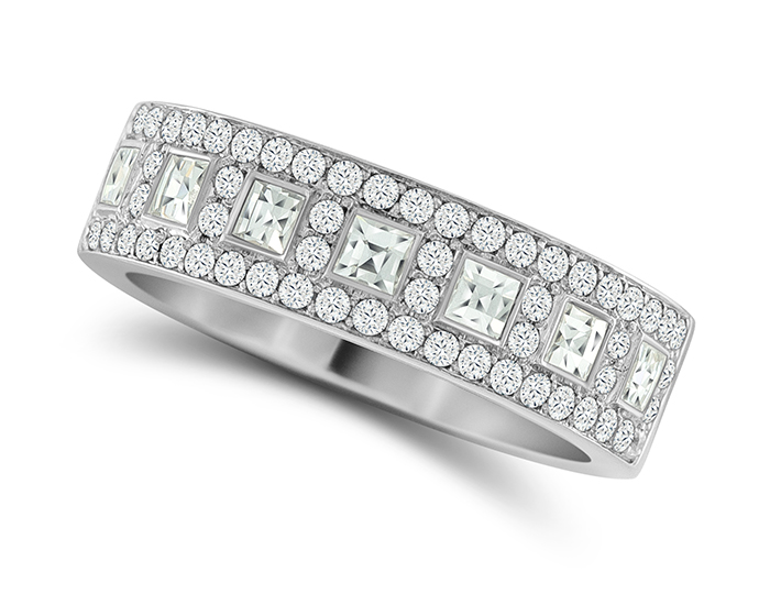 Round brilliant cut and blaze cut diamond ring in platinum.