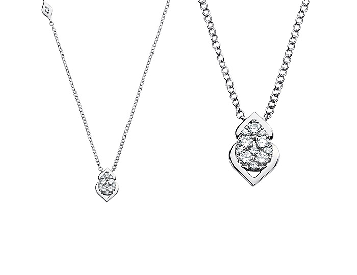 Sara Weinstock Reverie collection round brilliant cut diamond pendant in 18k white gold.