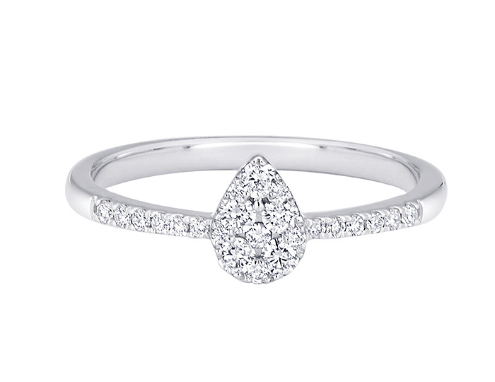 Sara Weinstock Reverie collection round brilliant cut diamond pear cluster ring in 18k white gold.