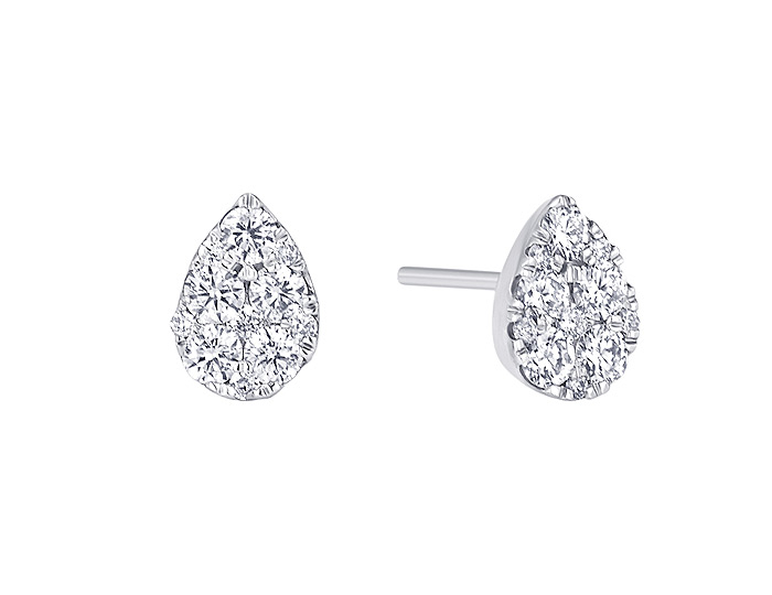 Sara Weinstock Reverie collection round brilliant cut diamond pear cluster stud earrings in 18k white gold.