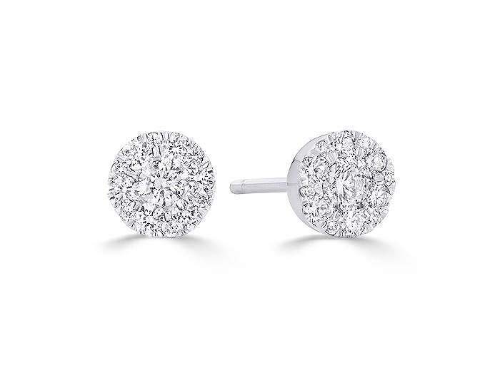 Sara Weinstock Reverie collection round brilliant cut diamond earrings in 18k white gold.