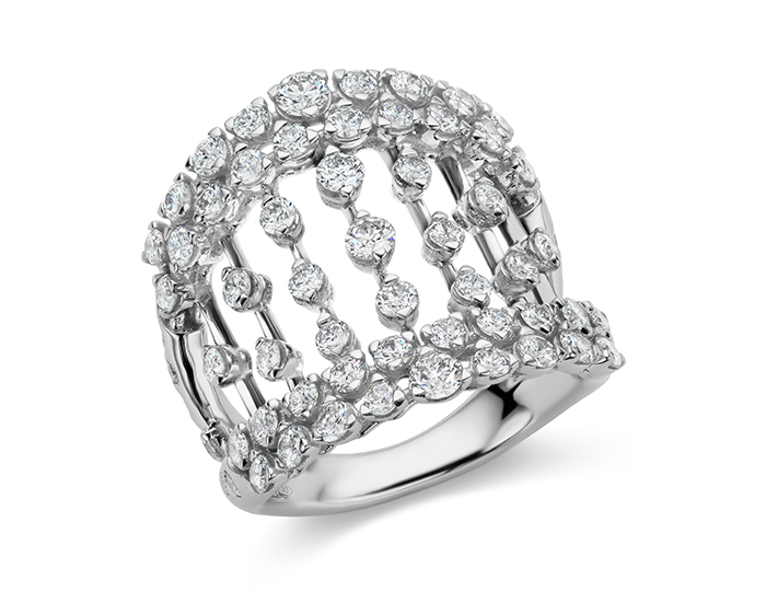Casato round brilliant cut diamond ring in 18k white gold.