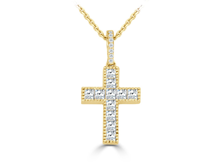 Bez Ambar princess cut diamond cross pendant in 18k yellow gold.