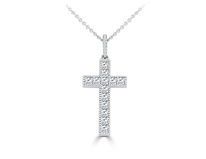 Bez Ambar princess cut and round brilliant cut diamond cross pendant in 18k white gold.