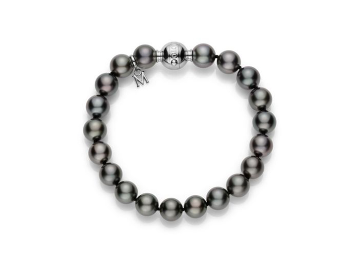 Mikimoto 9x8mm black South Sea pearl bracelet in 18k white gold.