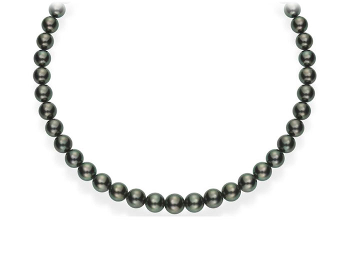 Mikimoto Tahitian pearl strand and round brilliant cut diamond and 18k white gold clasp.