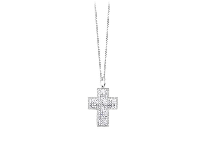 Blaze cut and round brilliant cut diamond cross in 18k white gold.
