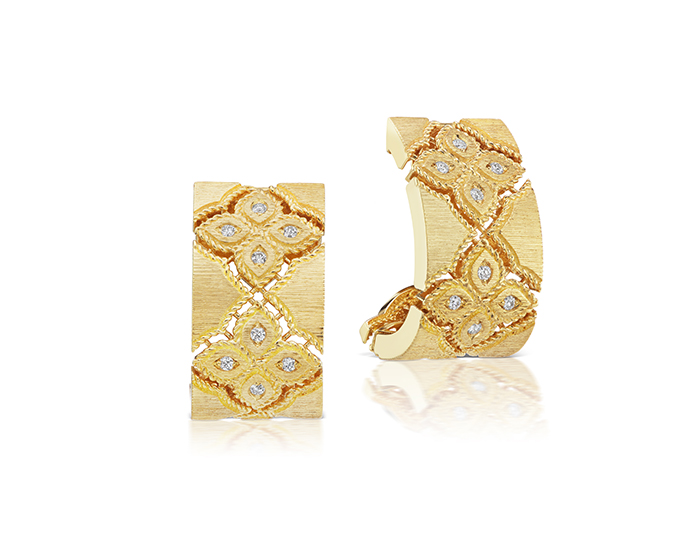 Roberto Coin Venetian Princess Collection round brilliant cut diamond earrings in 18k yellow gold.