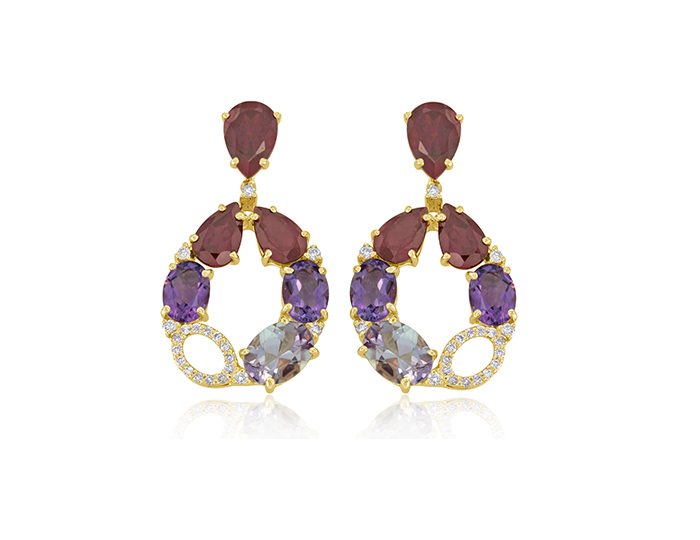 Amethyst, rhodolite garnet, pink tourmaline and round brilliant cut diamond earrings 18k rose gold.