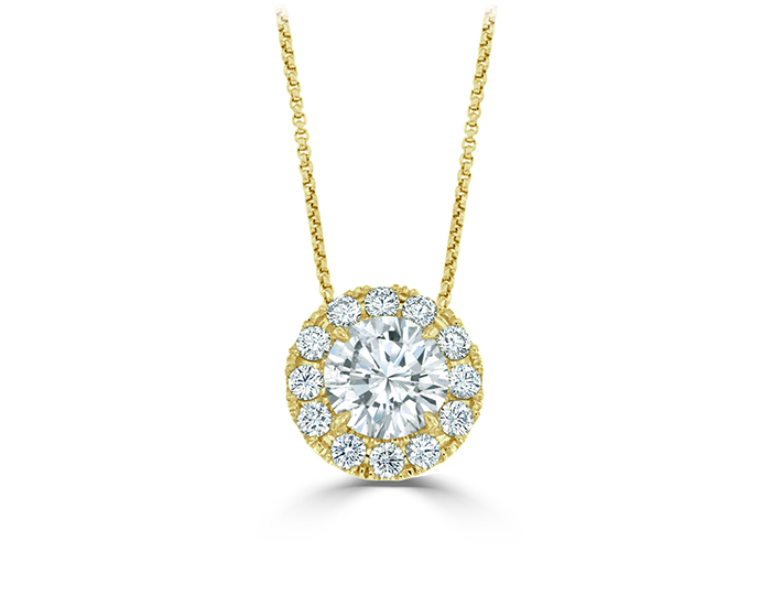 Round brilliant cut diamond pendant in 18k yellow gold.