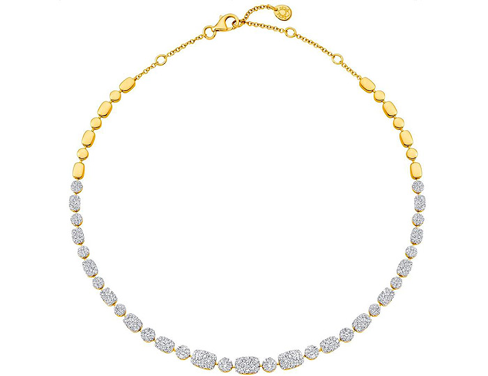 Sara Weinstock Reverie collection round brilliant cut diamond necklace in 18k yellow gold.