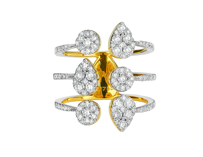 Sara Weinstock Reverie collection round brilliant cut diamond round and pear cluster ring in 18k yellow gold.