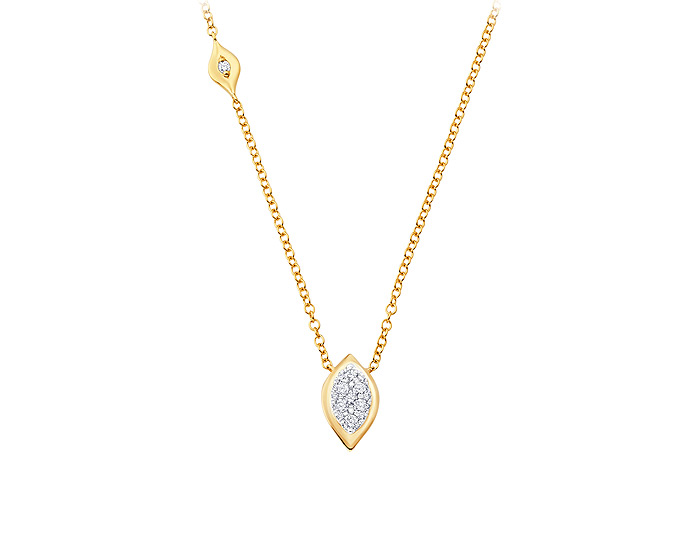 Sara Weinstock Reverie collection round brilliant cut diamond pendant in 18k yellow gold.