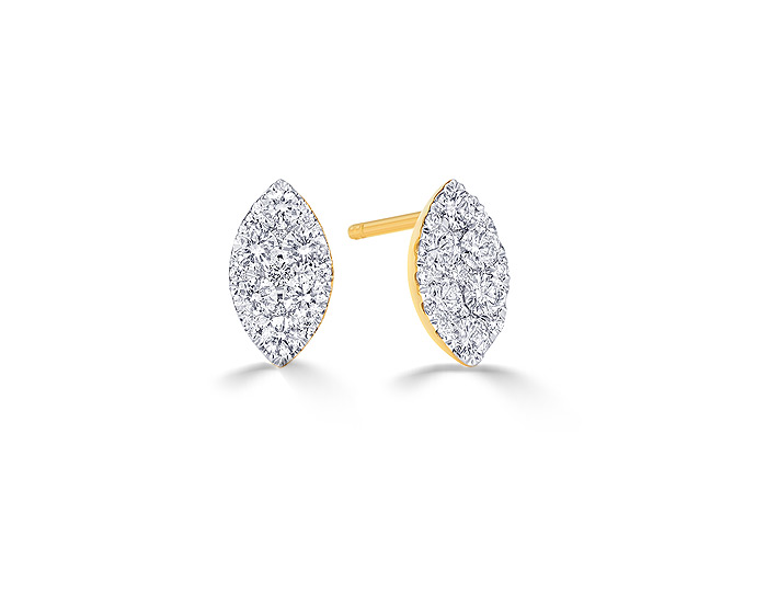 Sara Weinstock Reverie collection round brilliant cut diamond earrings in 18k yellow gold.