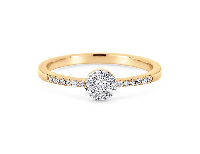 Sara Weinstock Reverie Collection round brilliant cut diamond ring in 18k yellow gold.