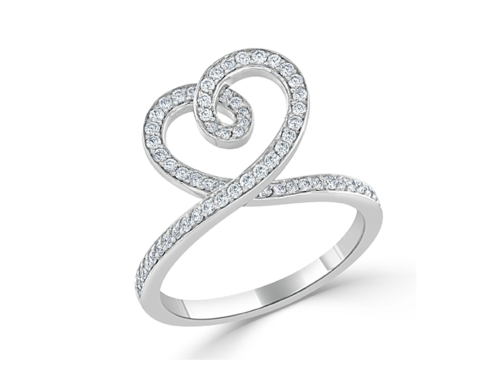 Bez Amar round brilliant cut diamond ring in 18k white gold.