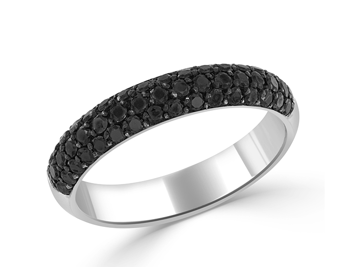Bez Ambar round brilliant cut black diamond band in 18k white gold.