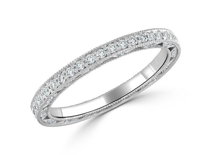Bez Ambar round brilliant cut diamond band in 18k white gold.