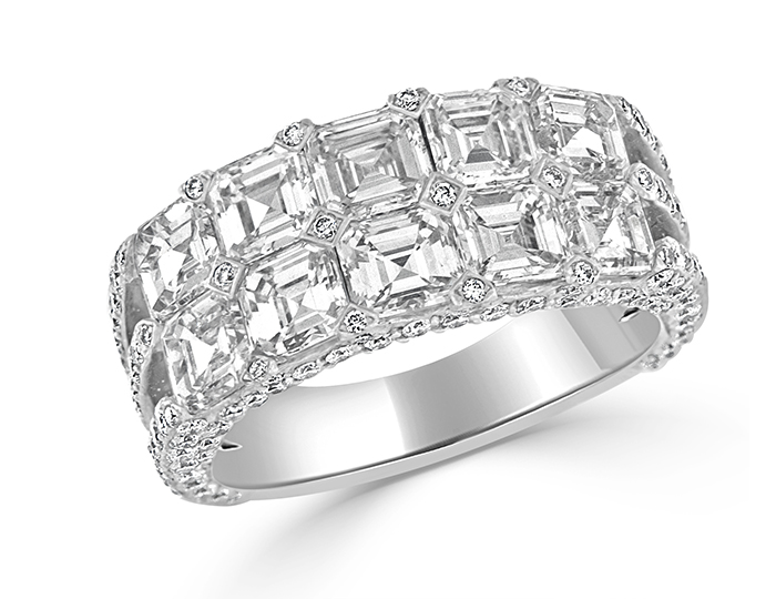 Asscher and round brilliant cut diamond band in 18k white gold.