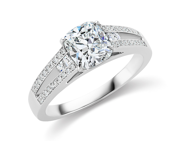 Cushion cut, blaze cut and round brilliant cut diamond engagement ring in 18k white gold.