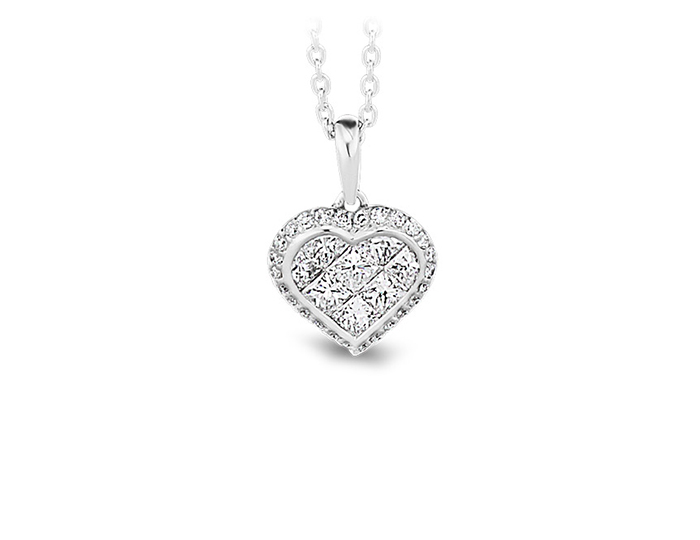 Princess cut and round brilliant cut diamond heart pendant in 18k white gold.