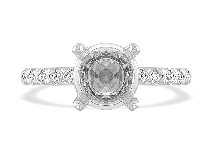 Blaze cut and round brilliant cut diamond engagement ring mounting in 18k white gold.