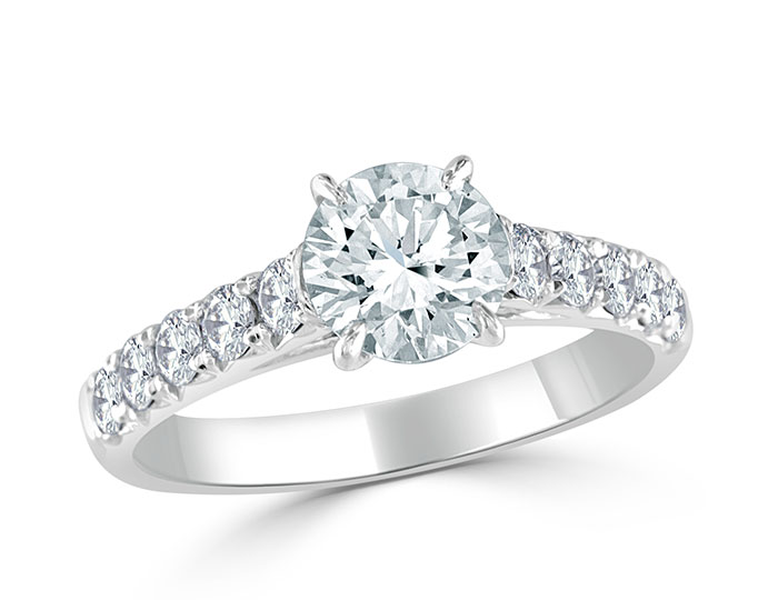 Ladies round brilliant cut diamond engagement ring in 18k white gold.