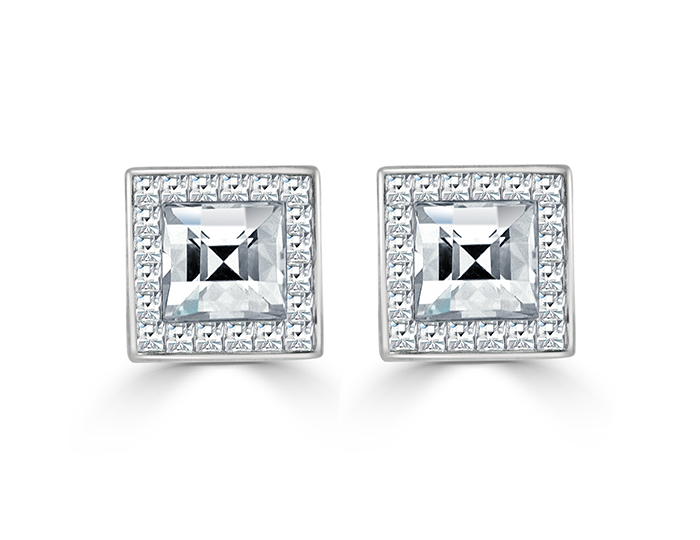 Bez Ambar blaze cut diamond earrings in 18k white gold.