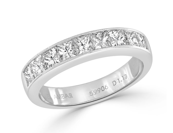 Bez Ambar princess cut diamond band in 18k white gold.