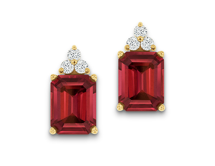 Rhodolite garnet and round brilliant cut diamond earrings in 14k yellow gold.