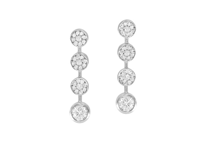 Round brilliant cut diamond earrings in platinum.