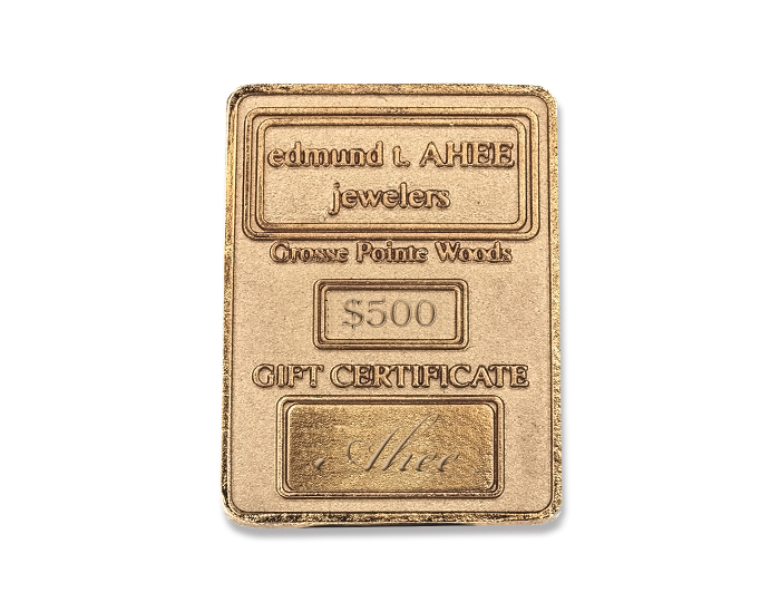 Gift certificates jewelry edmund t ahee jewelers 500 ahee gift certificate ingot negle Choice Image