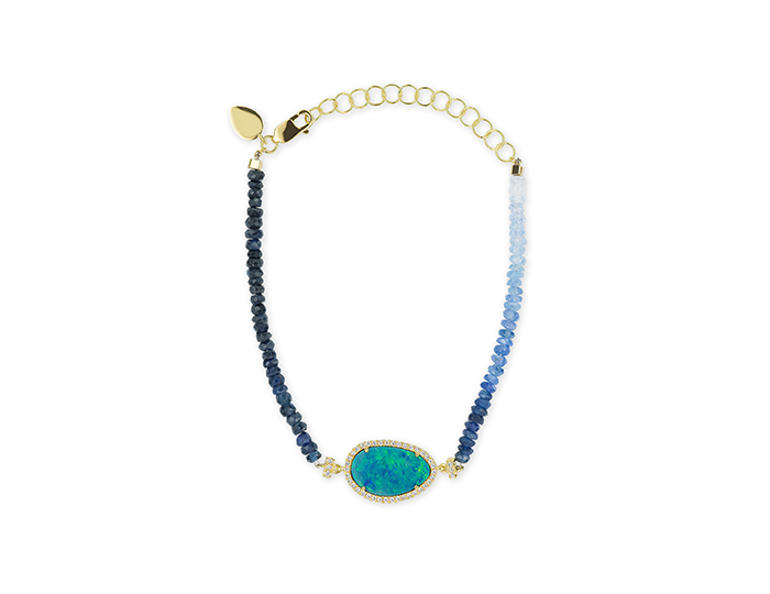 Meira T opal, sapphire and diamond bracelet in 18k yellow gold.