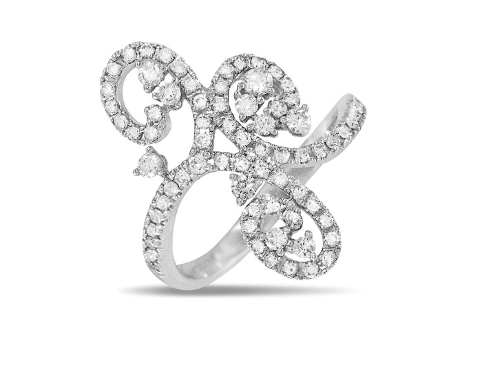 Casato Daphne Collection round brilliant cut diamond ring in 18k white gold.