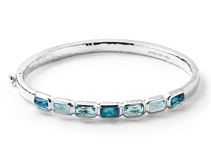 IPPOLITA Sterling Silver Rock Candy Horizontal 7-Stone Bangle in Light Blue.