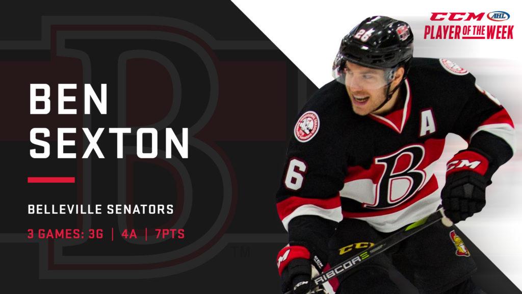 Sexton Named Ccm Ahl Player Of The Week Belleville Senators
