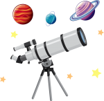 A white telescope is pointed into the sky, surrounded by stars and planets