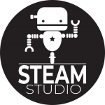 A robot dances over the words STEAM Studio