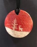 Clay Sgraffito Holiday Ornament
