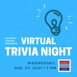 Virtual Trivia Night January 27 at 7 pm