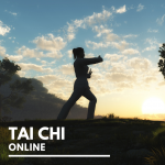 A woman doing Tai Chi outside with text reading Tai Chi Online