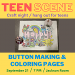 Teen Scene at the Farms: Coloring Pages & Button Making