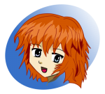 A happy girl with bright red hair drawn in the manga style of drawing with big eyes and sharp lines